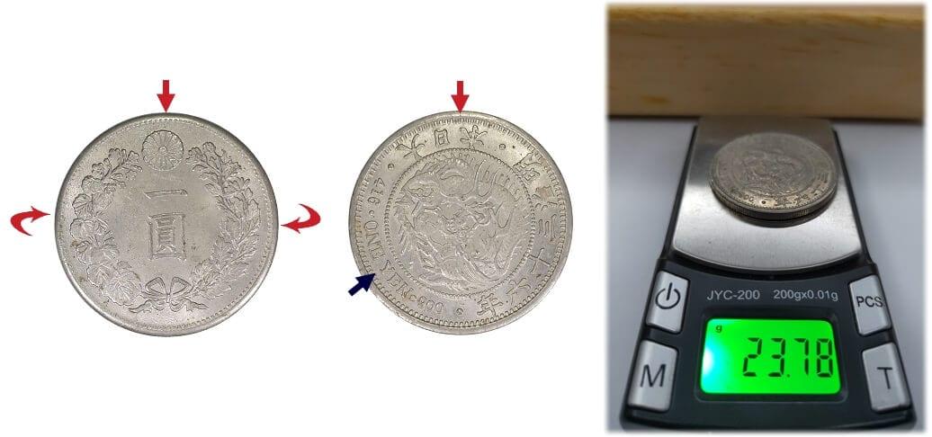日本龍銀-明治三十六年假幣重大瑕疵